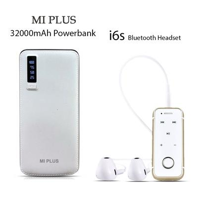 Mi Plus 32000mAh Power Bank With Free I6s Bluetooth Headset
