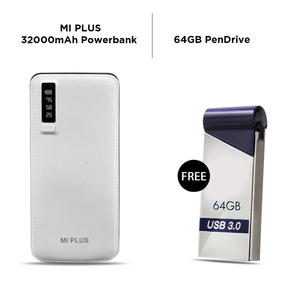 Mi Plus 32000 mAh Power Bank with Free 64 GB Pendrive