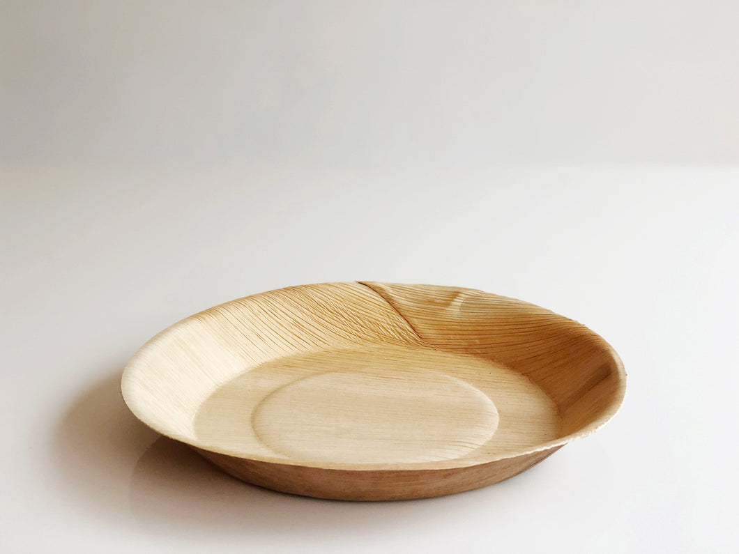 Medium round palm leaf serving plate 20cm