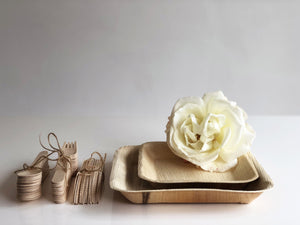 Palm leaf plates and cutlery bundle for weddings bbq breakfast