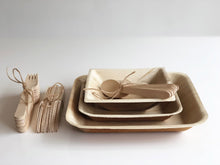 Palm leaf plates and bowls with cutlery for weddings events parties