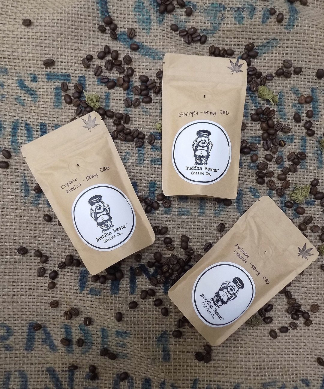Buddha Beans CBD Coffee - Three Coffee Flight - Organic Mexico/Colombia/Ethiopia
