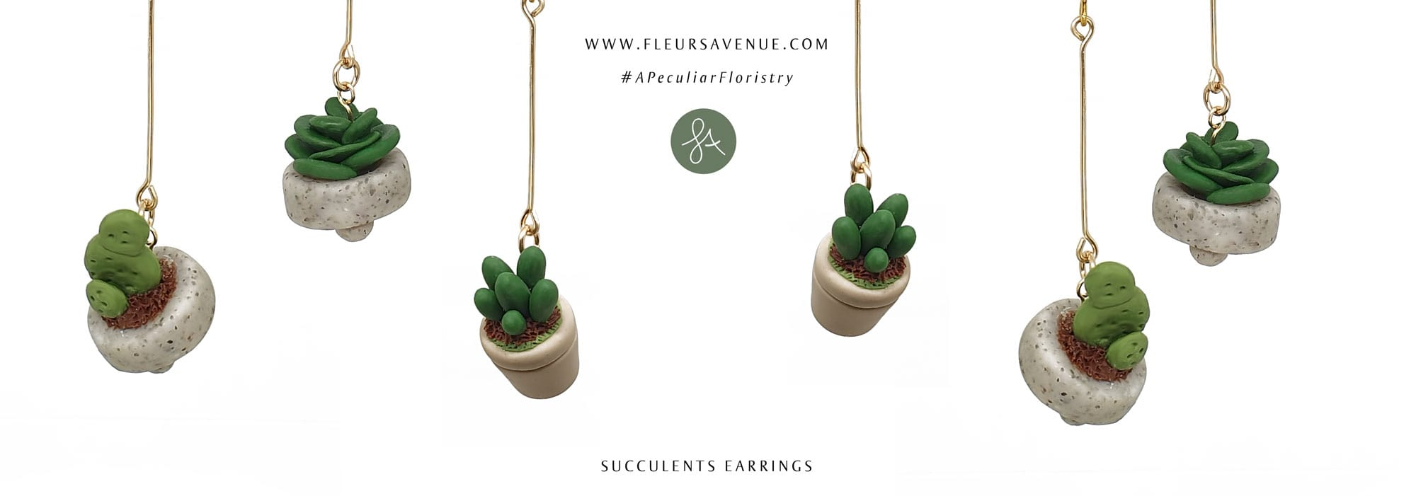 succulent plant cactus miniature potted plant earrings mix and match