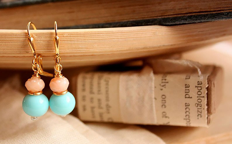 Fleurs Avenue little petite french earrings in blue and salmon pink