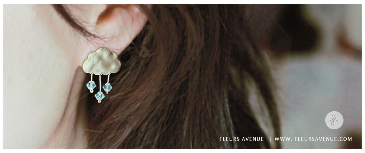 Fleurs Avenue Rainy Day Earrings In Gold Filled With Crystal Blue Swarovski crystals