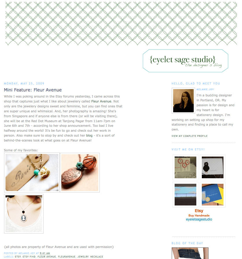 Featured and mentioned on Eyelet Sage Studio