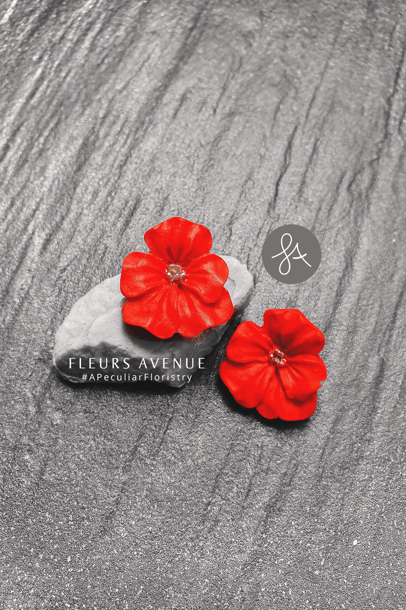Fleurs Avenue signature flower post stud earrings. Stainless steel backs. Nickle and lead-free.