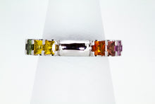 Load image into Gallery viewer, Barcelona Rainbow Princess Cut Sapphire 18 Carat White Gold Eternity Band Ring