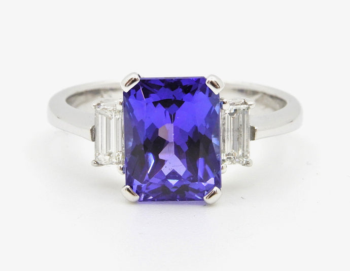 2.58 Carat Emerald Cut Tanzanite and Diamond Handmade 18 Carat White Gold Ring