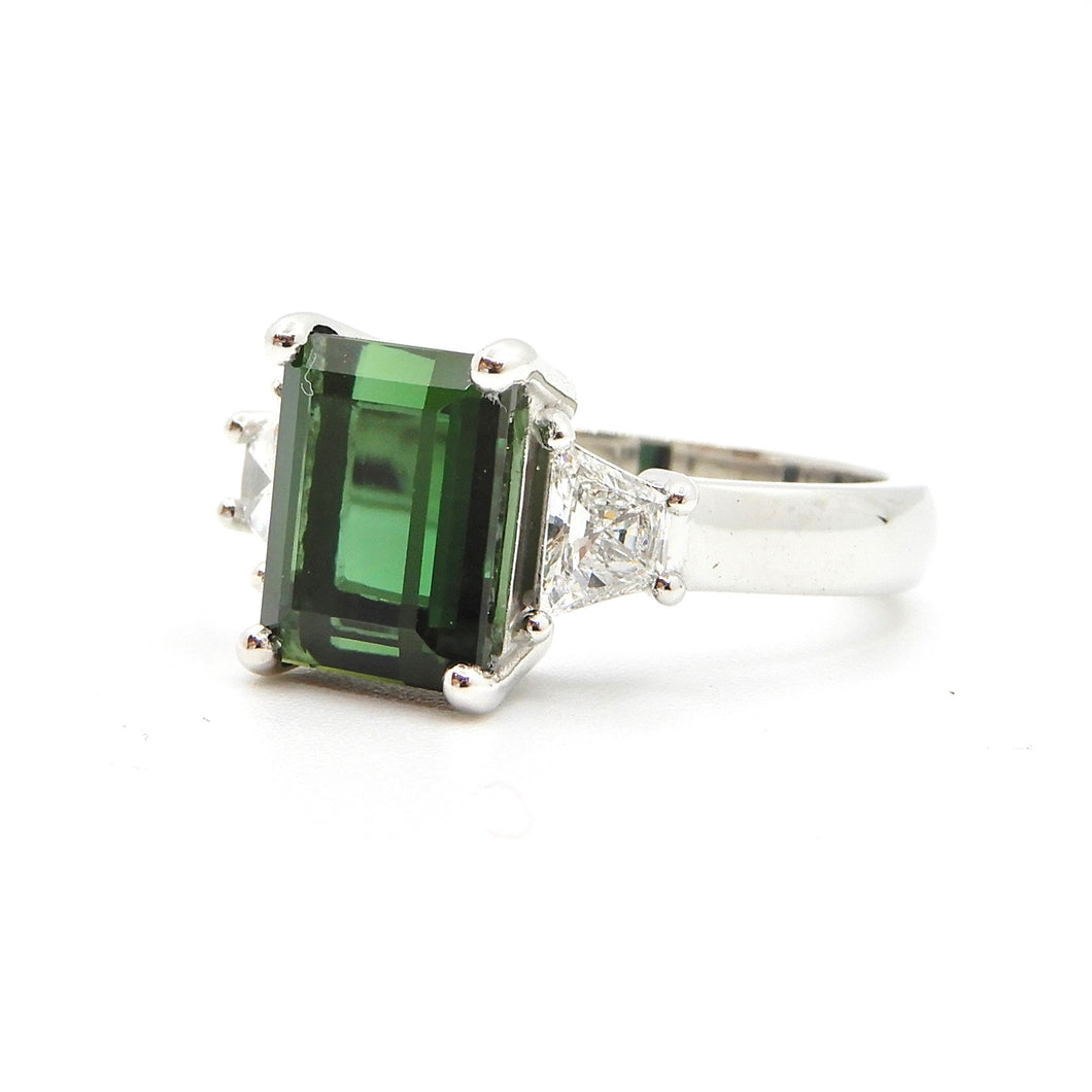 2.86 carat Emerald Cut Green Tourmaline and Diamond Ring