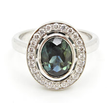 Load image into Gallery viewer, 1.65 Carat Oval Cut Teal Blue Sapphire and Diamond Engagement Ring