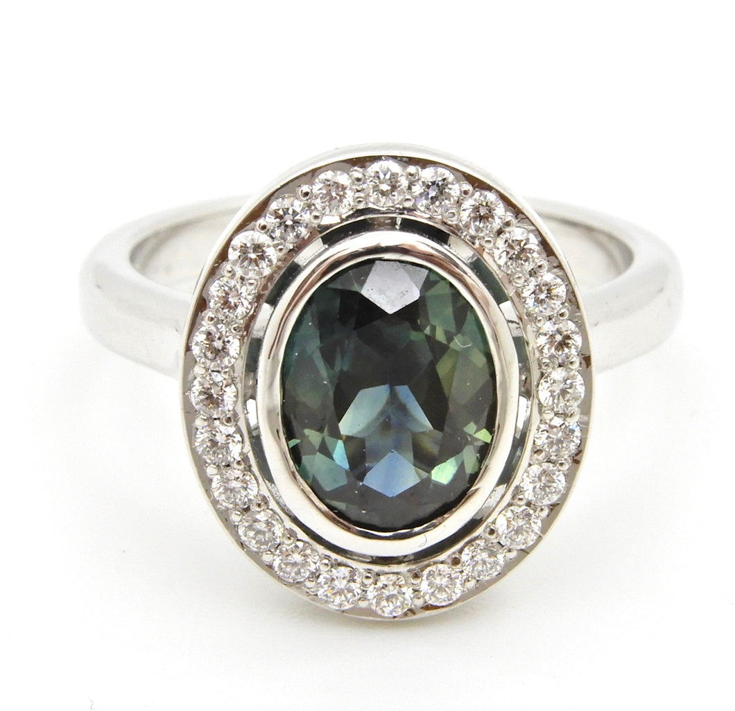 1.65 Carat Oval Cut Teal Blue Sapphire and Diamond Engagement Ring