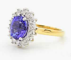 2.93 Carat Oval Cut Tanzanite Diamond Handmade 18 Carat Gold Cocktail Ring