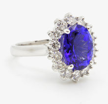 Load image into Gallery viewer, Oval Tanzanite and Diamond halo Ring