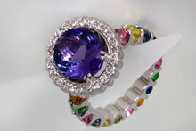Load image into Gallery viewer, 4.65 Carat Oval Tanzanite Diamond and Rainbow Gemstone Cocktail Ring
