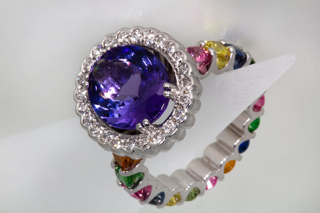 4.65 Carat Oval Tanzanite Diamond and Rainbow Gemstone Cocktail Ring