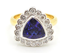 Load image into Gallery viewer, 2.06 Carat Trilliant Cut Tanzanite, Diamond Ring