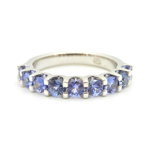 Blue Sapphire Half Eternity Band 18 Carat White Gold Ring