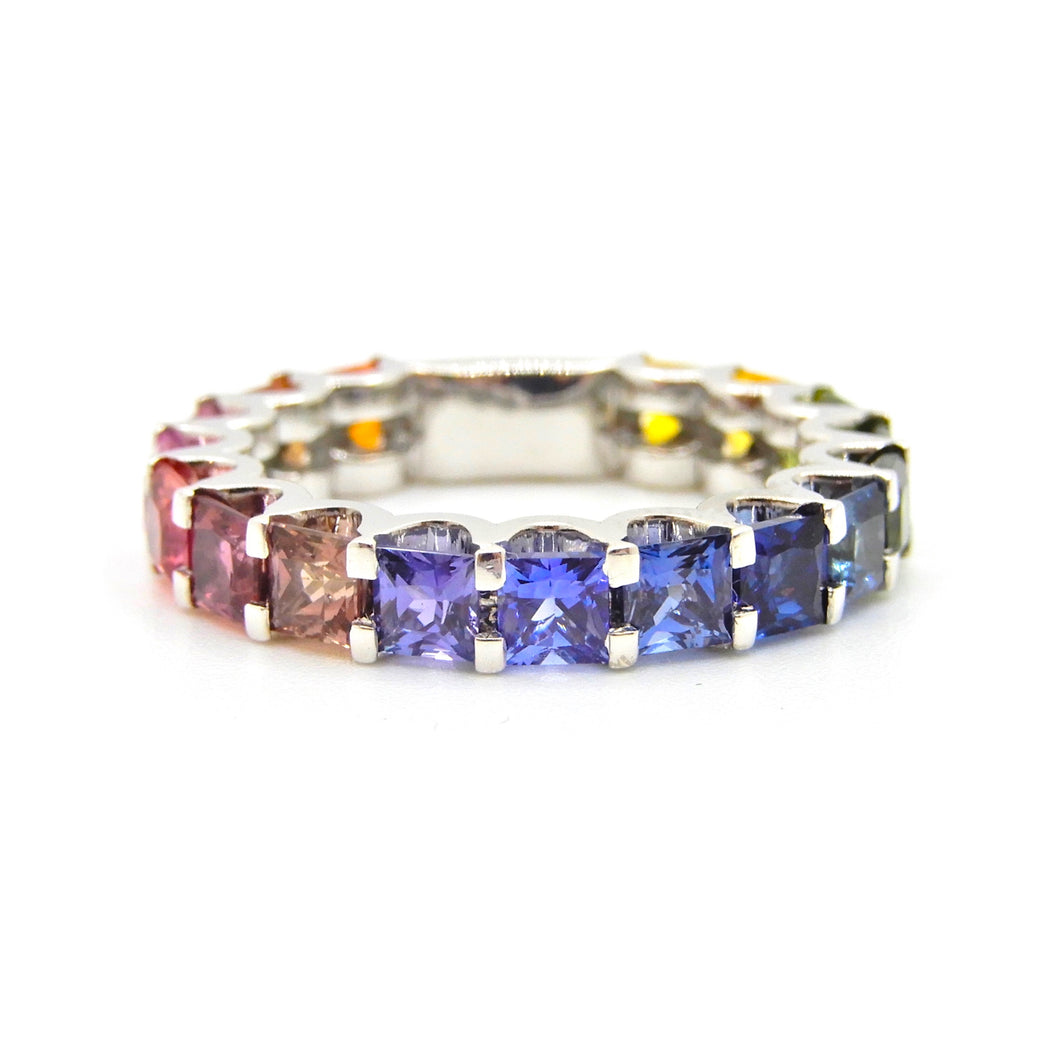 Barcelona Rainbow Princess Cut Sapphire 18 Carat White Gold Eternity Band Ring
