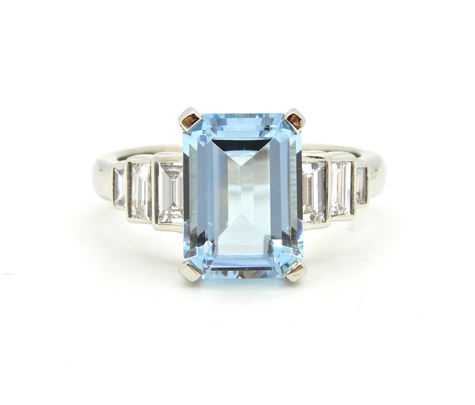 2.5 Carat Emerald Cut Aquamarine and Diamond Platinum Engagement Ring