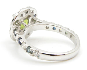 2.11 Carat Round Brilliant Cut Green Parti Sapphire and Diamond Halo Engagement Ring