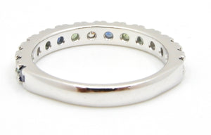 0.63 Carat Parti Sapphire and Diamond Wedding Ring