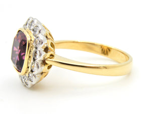 2.5 Carat Cushion Cut Purple Garnet Diamond Handmade Cocktail Ring