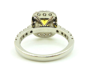 1.27 Carat Radian Cut Yellow Sapphire and Diamond Halo Engagement Ring