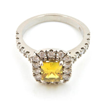 Load image into Gallery viewer, 1.27 Carat Radian Cut Yellow Sapphire and Diamond Halo Engagement Ring