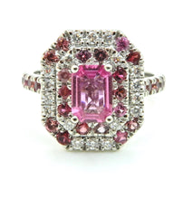 Load image into Gallery viewer, 0.82 Carat Pink Sapphire Diamond Double Halo 18 Carat White Gold Engagement Ring