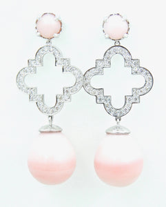 Peruvian Pink Opal and Diamond Du Maroc Earrings