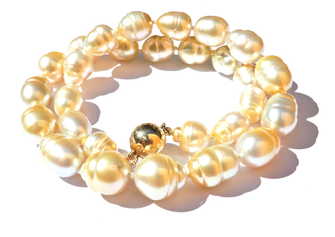 Graduated Golden South Sea Pearl and 9 Carat Yellow Gold Necklace