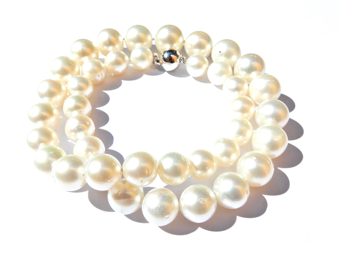 Graduated South Sea Pearl and 9 Carat White Gold Necklace