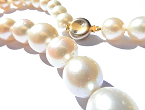 Graduated South Sea Pearl Diamond and 18 Carat White and Yellow Gold Necklace
