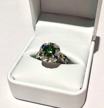 Load image into Gallery viewer, 2.11 Carat Round Brilliant Cut Green Parti Sapphire and Diamond Halo Engagement Ring