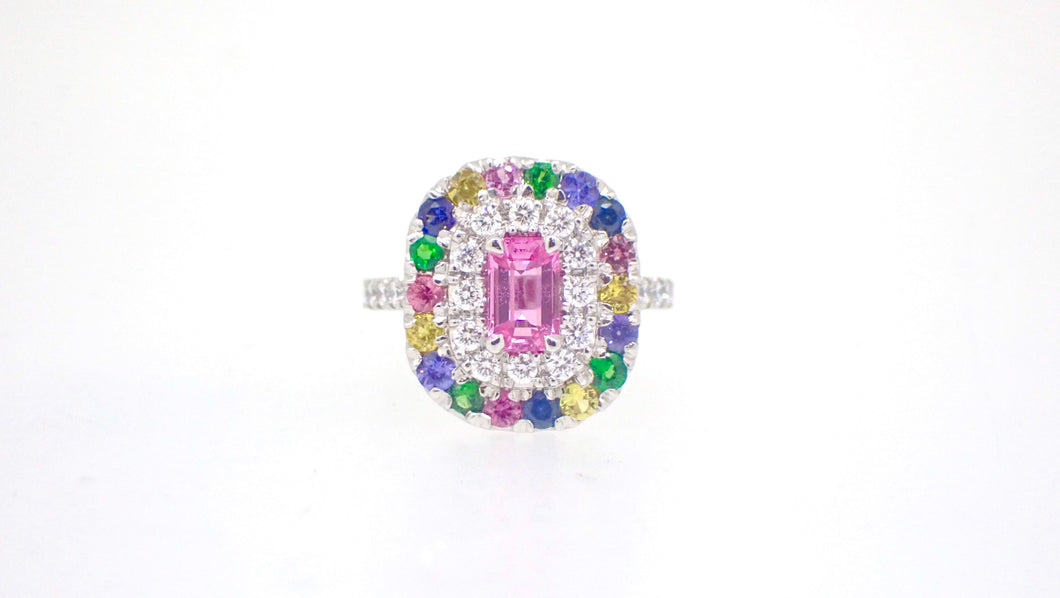 Rainbow Sapphire Diamond Garnet Platinum Cocktail Ring