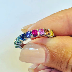 Half band Rainbow Ring - Vibrant