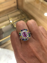 Load image into Gallery viewer, Rainbow Sapphire Diamond Garnet Platinum Cocktail Ring