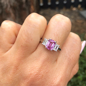 Natural Pink Sapphire and Diamond Ring