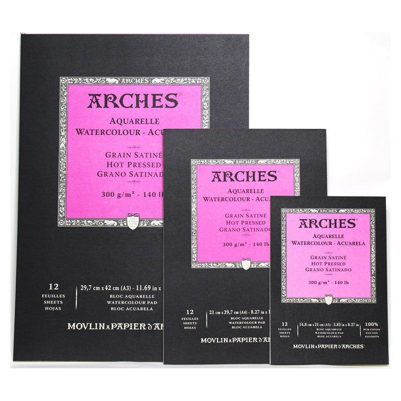 Arches Watercolour paper Pads Hot Pressed 300gsm
