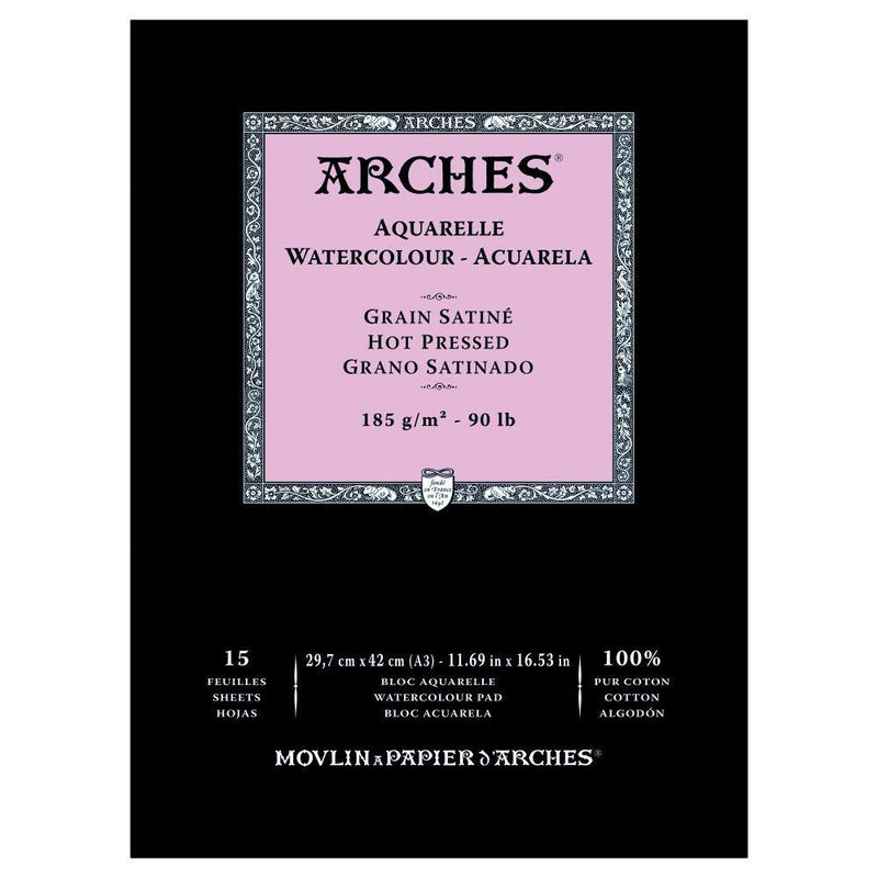 Arches Watercolour Paper Pads Hot Pressed 90lbs