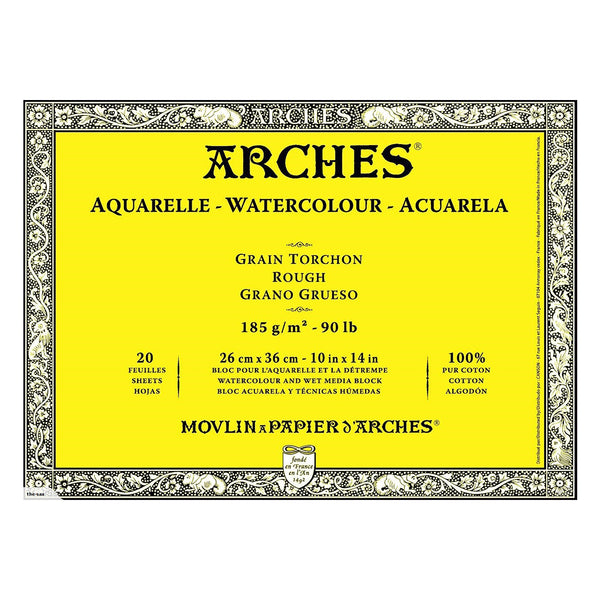Arches Watercolour block, Rough 90lb - 185gsm