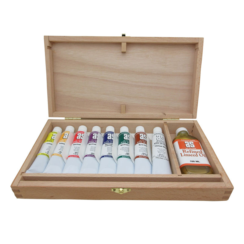 Art Spectrum Wooden Box Set - 8 x 40ml Oil Paint Tubes & 100ml Refined Linseed Oil