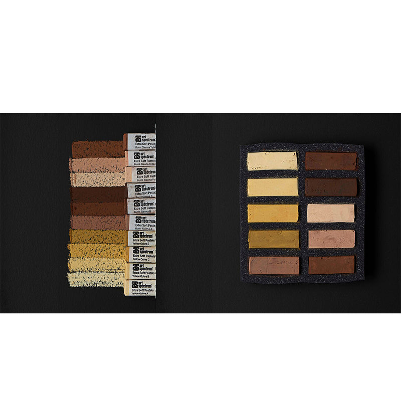 Art Spectrum Extra Soft Square Pastels Box of Ten - Ochre and Sienna Earths