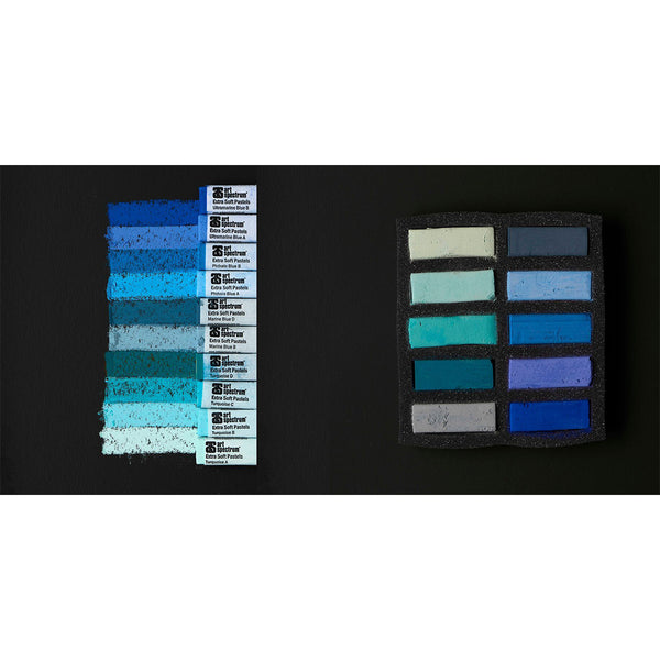 Art Spectrum Extra Soft Square Pastels Box of Ten - Turquoise and Blues
