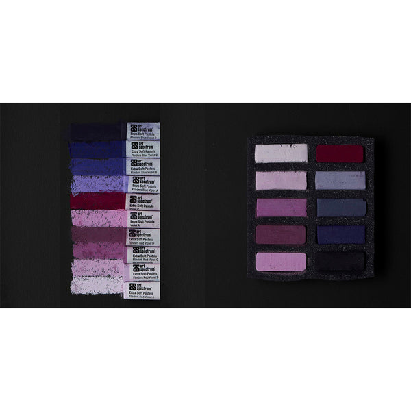 Art Spectrum Extra Soft Square Pastels Box of Ten - Violets