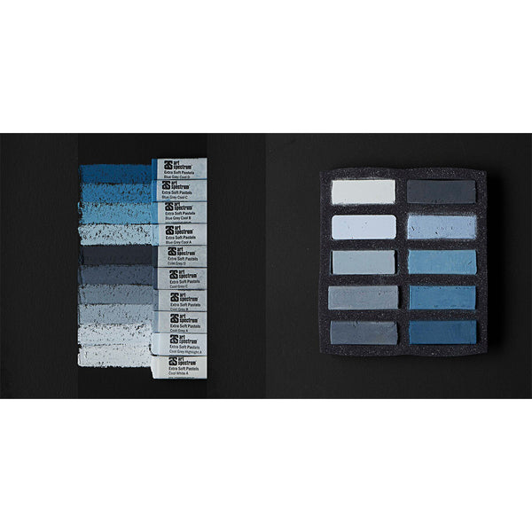 Art Spectrum Extra Soft Square Pastels Box of Ten - Cool Greys