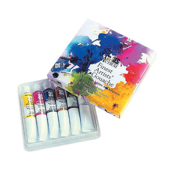 Art Spectrum Artist's Gouache - Set Of 6 with 16 well Plastic Watercolour palette