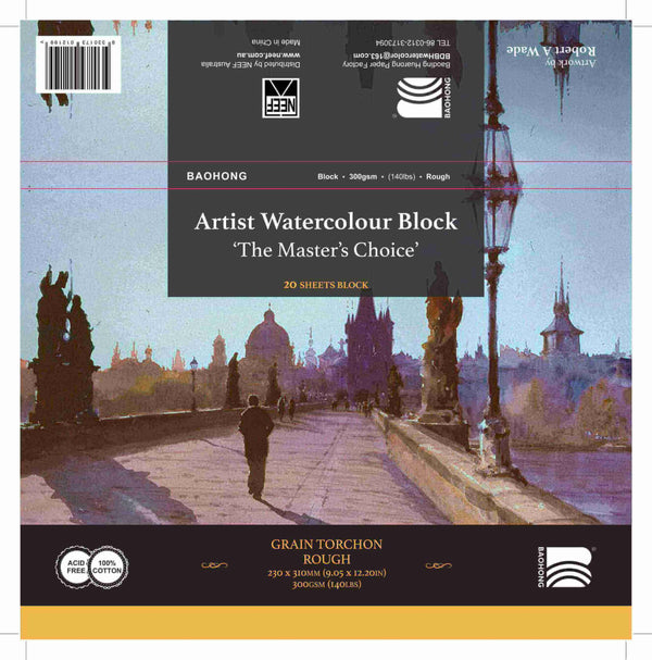 Baohong Artist Watercolour Block, Rough 140lb - 300gsm