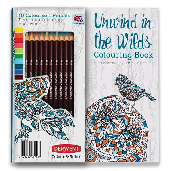 Derwent Unwind In The Wilds Colouring Book Set